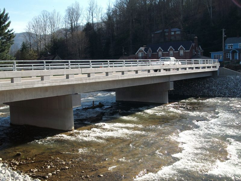 Construction company showing off completed bridge in Cumberland, Kentucky for the Army Crops. of Engineers