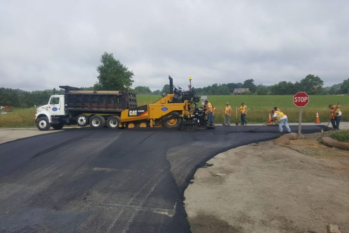 Construction company resurfacing and paving part of the Blue Ridge Parkway in Boone