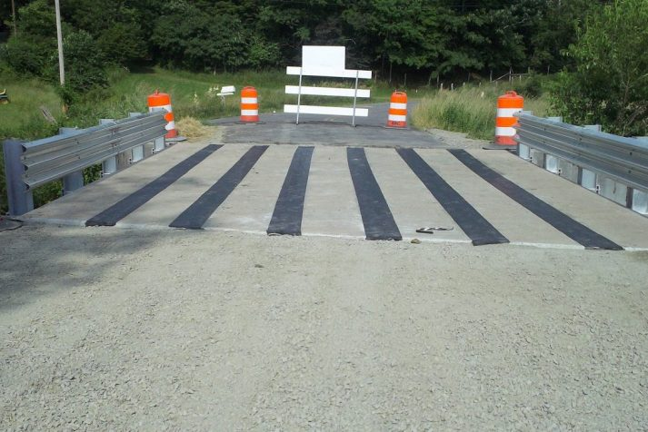 Bridge in a semi-completed state over a creek linking Bristol and Hiltons, Virginia
