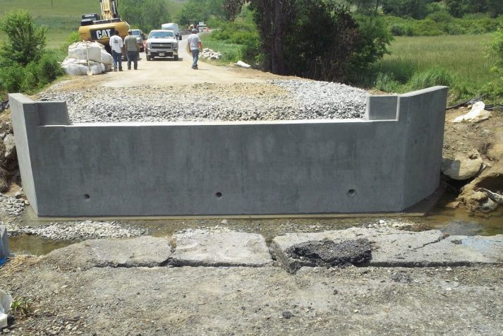 Concrete supports finished for a bridge in Bristol, Virginia