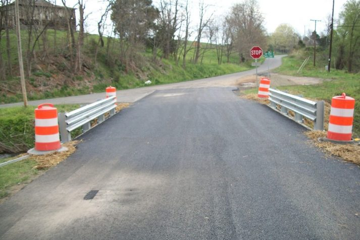 Construction company's final view of a bridge that has just been finished and paved