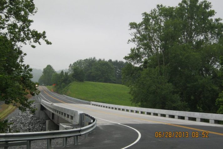 Construction company revealing their completed bridge on one of the Hiltons, VA projects
