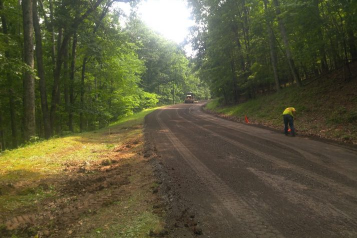 Construction company works on road rehabilitation project at Newfound Gap on 1A28 in the Smoky Mountains