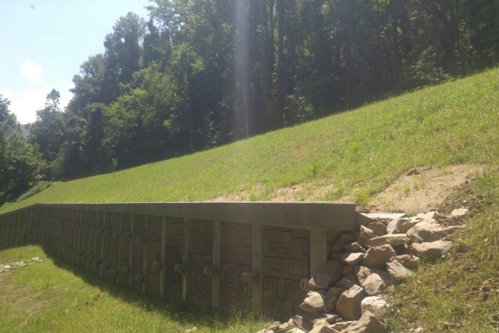 Construction company reveals retaining wall at their Newfound Gap Road Rehabilitation project in the Smoky Mountains