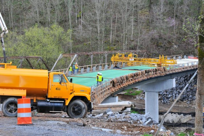 Construction company in the process of finishing a bring on rt. 562, Puckett's Hole
