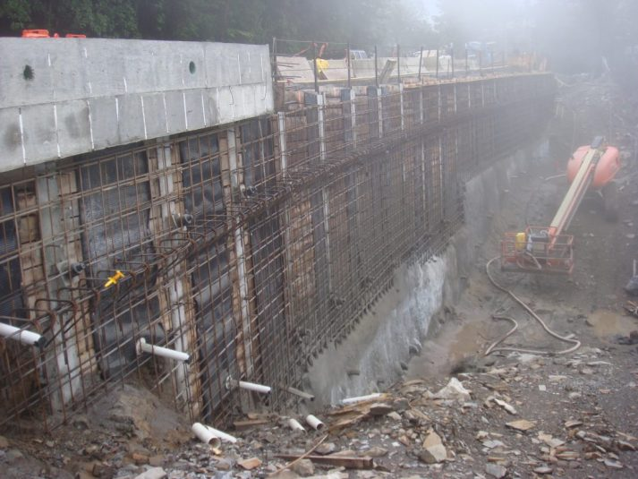 Construction company working on finishing a retaining wall in the Great Smoky Mountains National Park